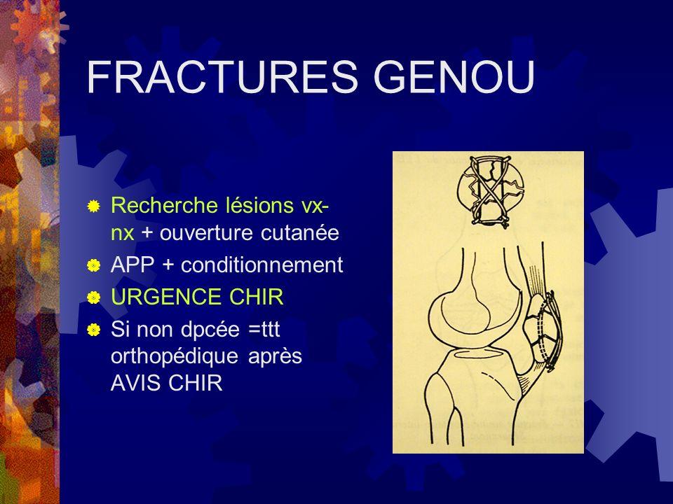 FRACTURES GENOU Recherche lésions vx-nx + ouverture cutanée