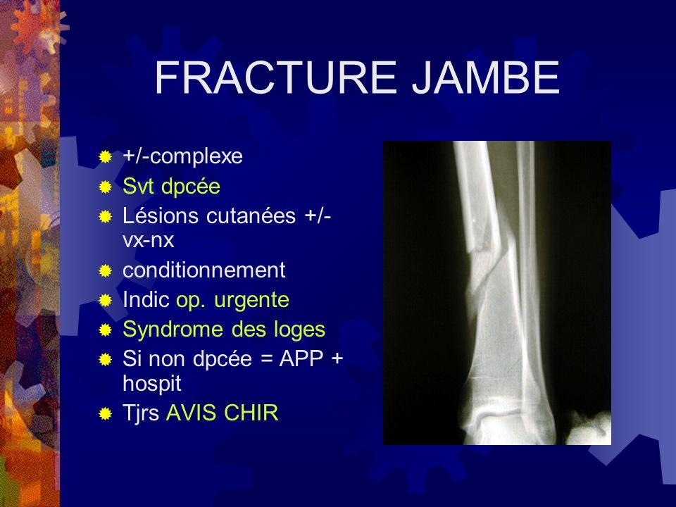 FRACTURE JAMBE +/-complexe Svt dpcée Lésions cutanées +/- vx-nx