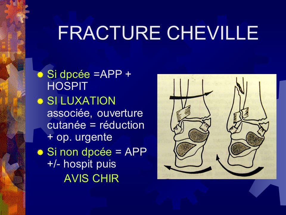 FRACTURE CHEVILLE Si dpcée =APP + HOSPIT