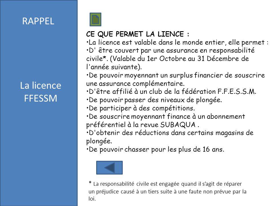 RAPPEL La licence FFESSM CE QUE PERMET LA LIENCE :