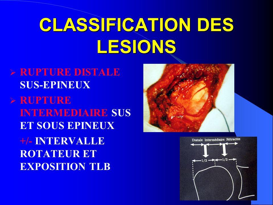 CLASSIFICATION DES LESIONS