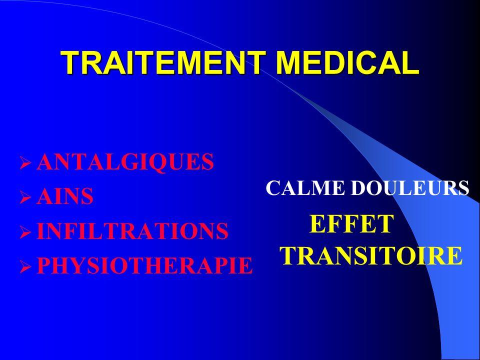 TRAITEMENT MEDICAL EFFET TRANSITOIRE ANTALGIQUES AINS INFILTRATIONS