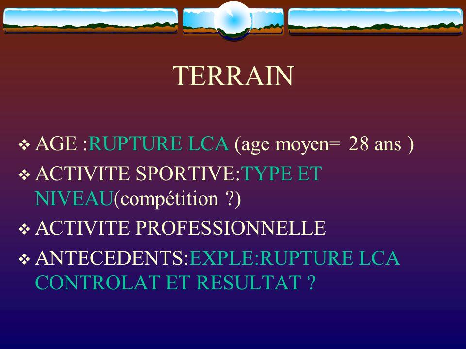 TERRAIN AGE :RUPTURE LCA (age moyen= 28 ans )