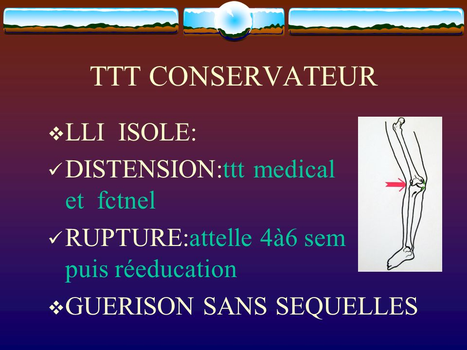TTT CONSERVATEUR LLI ISOLE: DISTENSION:ttt medical et fctnel