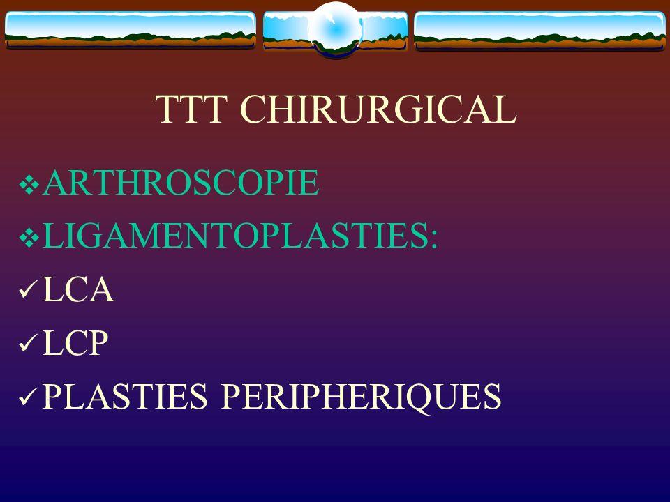 TTT CHIRURGICAL ARTHROSCOPIE LIGAMENTOPLASTIES: LCA LCP