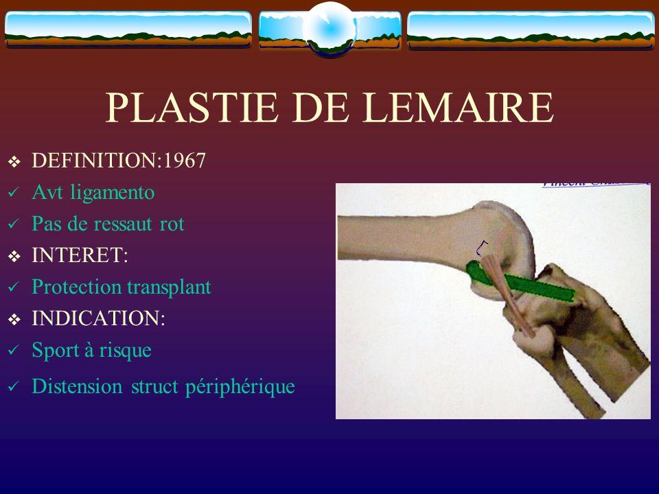 PLASTIE DE LEMAIRE DEFINITION:1967 Avt ligamento Pas de ressaut rot