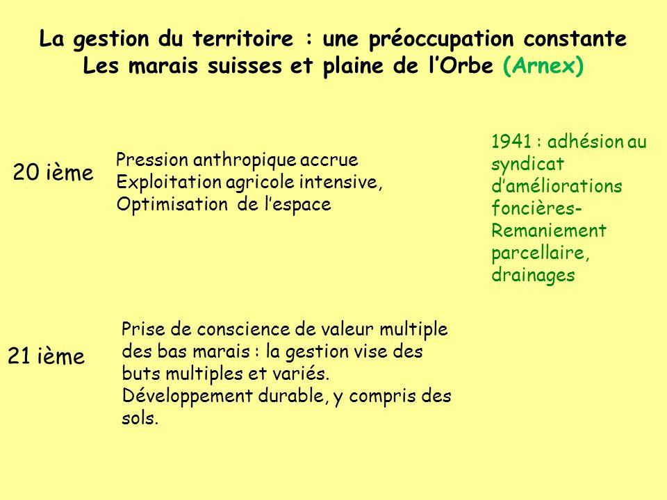 La gestion du territoire : une préoccupation constante Les marais suisses et plaine de l'Orbe (Arnex)