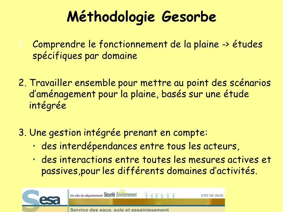 Méthodologie Gesorbe Comprendre le fonctionnement de la plaine -> études spécifiques par domaine.