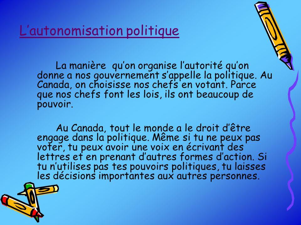 L'autonomisation politique