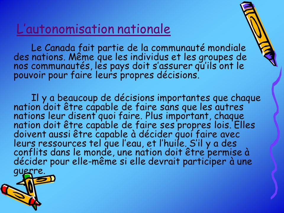 L'autonomisation nationale