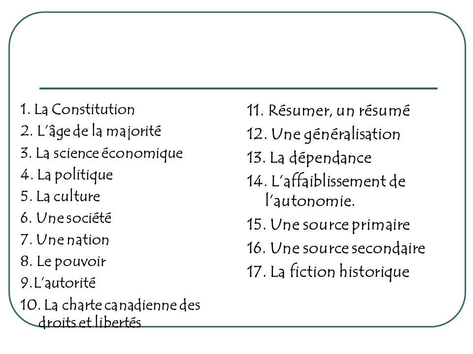 14. L'affaiblissement de l'autonomie. 15. Une source primaire