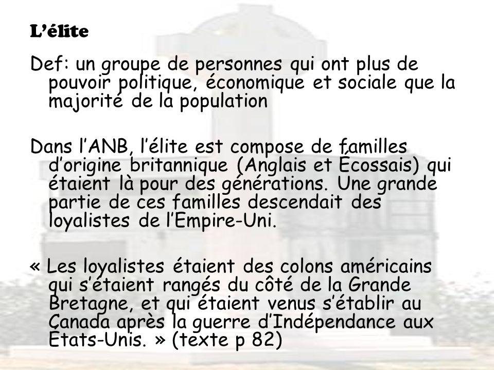 L'élite Def: un groupe de personnes qui ont plus de pouvoir politique, économique et sociale que la majorité de la population.
