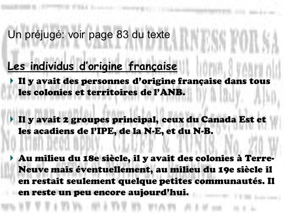 Un préjugé: voir page 83 du texte Les individus d'origine française