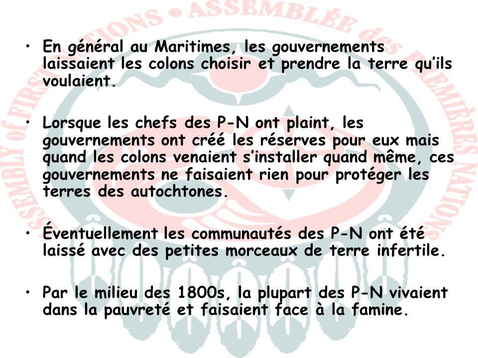 En général au Maritimes, les gouvernements laissaient les colons choisir et prendre la terre qu'ils voulaient.