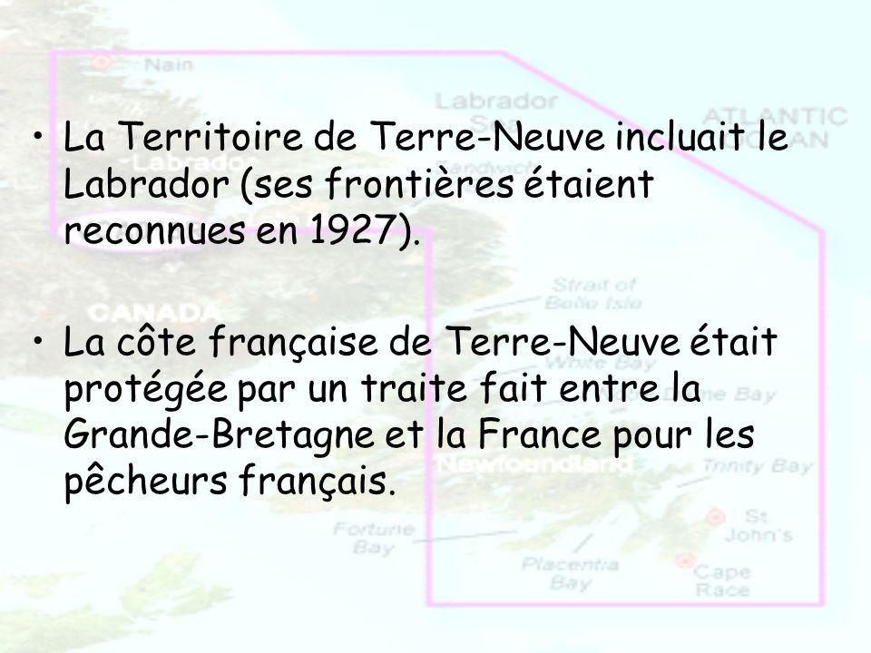 La Territoire de Terre-Neuve incluait le Labrador (ses frontières étaient reconnues en 1927).