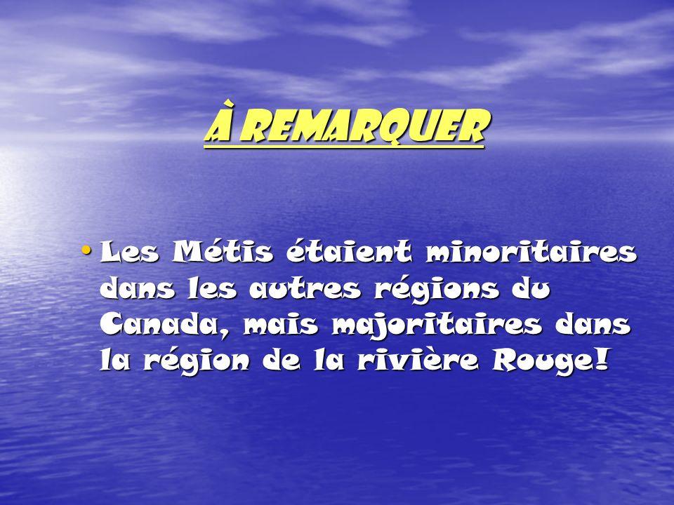 À REMARQUER Les Métis étaient minoritaires dans les autres régions du Canada, mais majoritaires dans la région de la rivière Rouge!