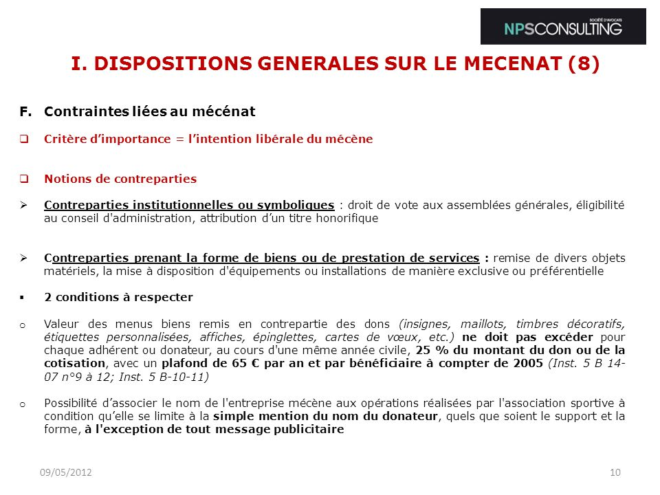 I. DISPOSITIONS GENERALES SUR LE MECENAT (8)