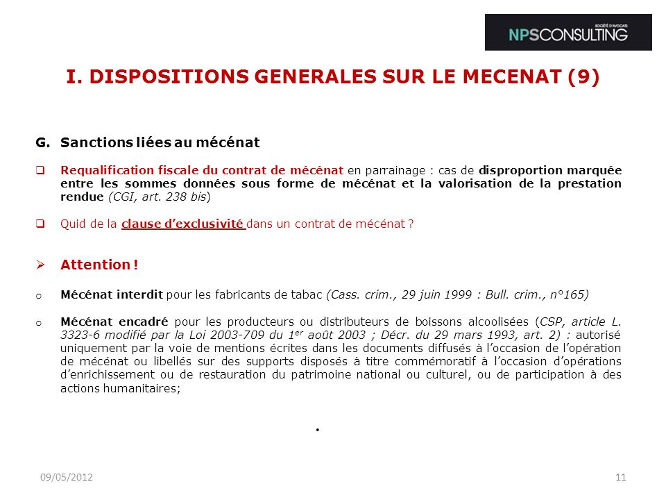 I. DISPOSITIONS GENERALES SUR LE MECENAT (9)