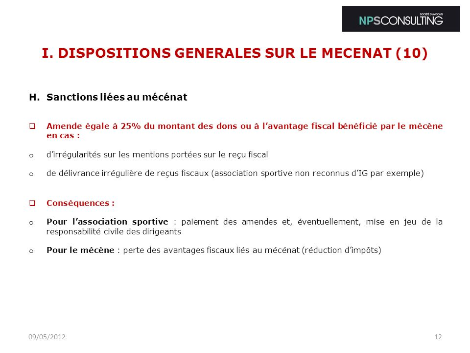 I. DISPOSITIONS GENERALES SUR LE MECENAT (10)
