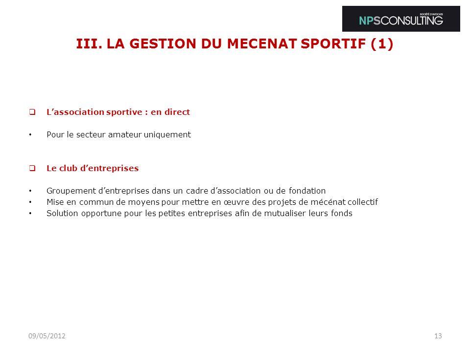 III. LA GESTION DU MECENAT SPORTIF (1)