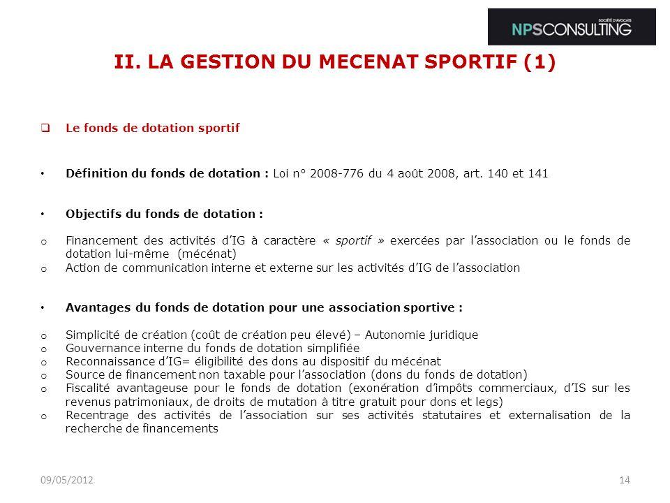 II. LA GESTION DU MECENAT SPORTIF (1)