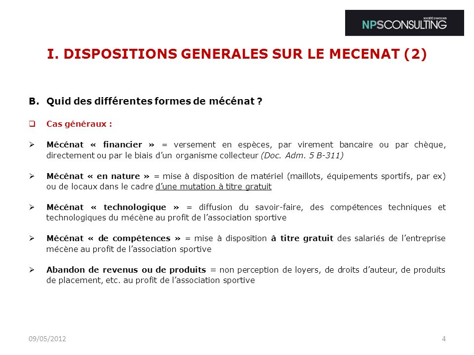 I. DISPOSITIONS GENERALES SUR LE MECENAT (2)