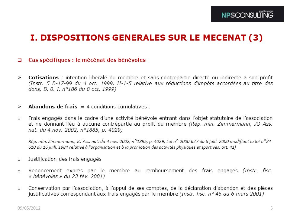 I. DISPOSITIONS GENERALES SUR LE MECENAT (3)