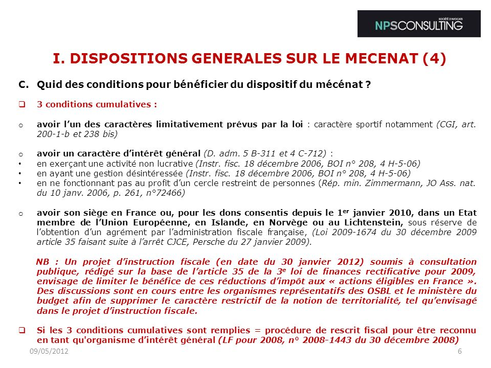 I. DISPOSITIONS GENERALES SUR LE MECENAT (4)