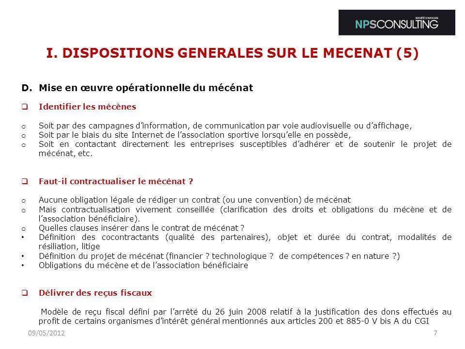 I. DISPOSITIONS GENERALES SUR LE MECENAT (5)