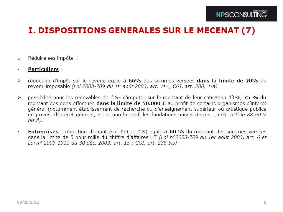 I. DISPOSITIONS GENERALES SUR LE MECENAT (7)