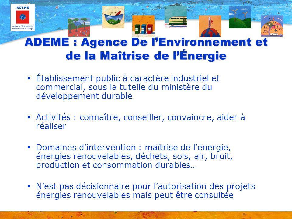 ADEME : Agence De l'Environnement et de la Maîtrise de l'Énergie