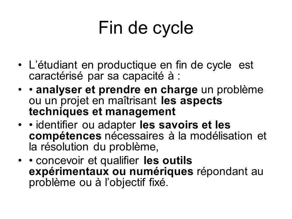 Fin de cycle L'étudiant en productique en fin de cycle est caractérisé par sa capacité à :