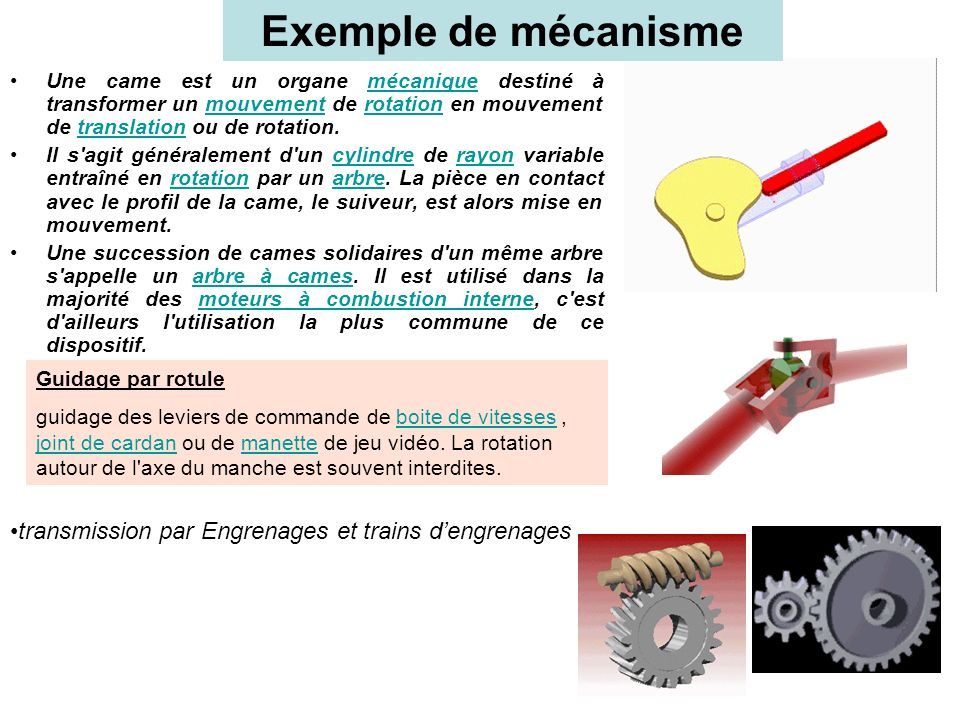 Exemple de mécanisme Une came est un organe mécanique destiné à transformer un mouvement de rotation en mouvement de translation ou de rotation.