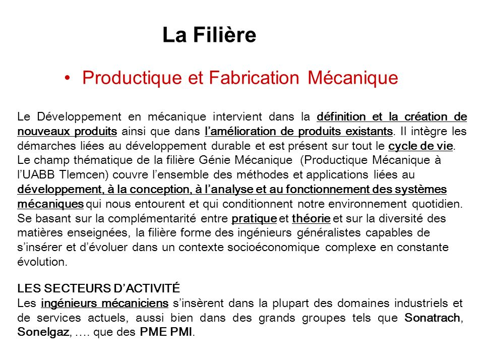 La Filière Productique et Fabrication Mécanique