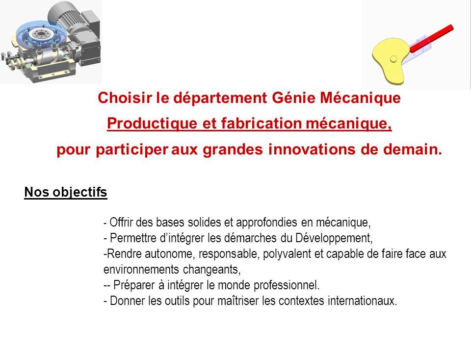 Choisir le département Génie Mécanique