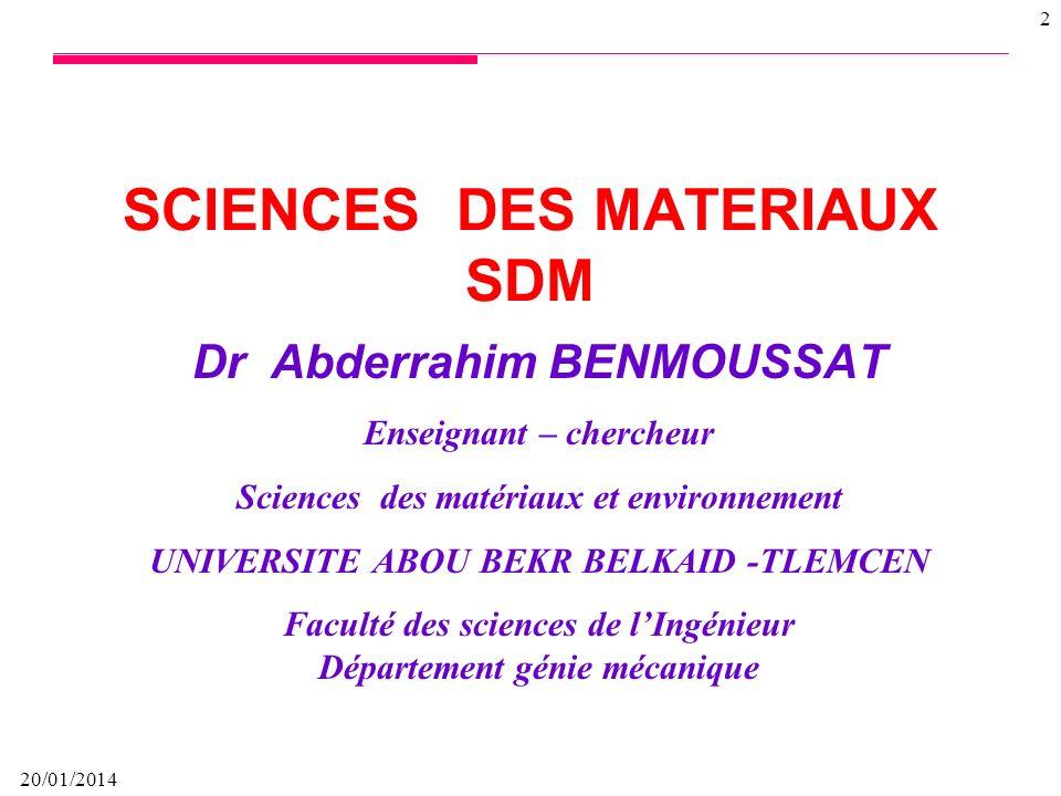 SCIENCES DES MATERIAUX SDM
