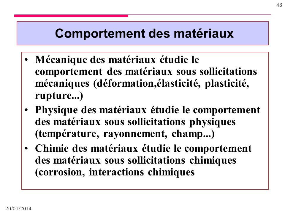 Comportement des matériaux