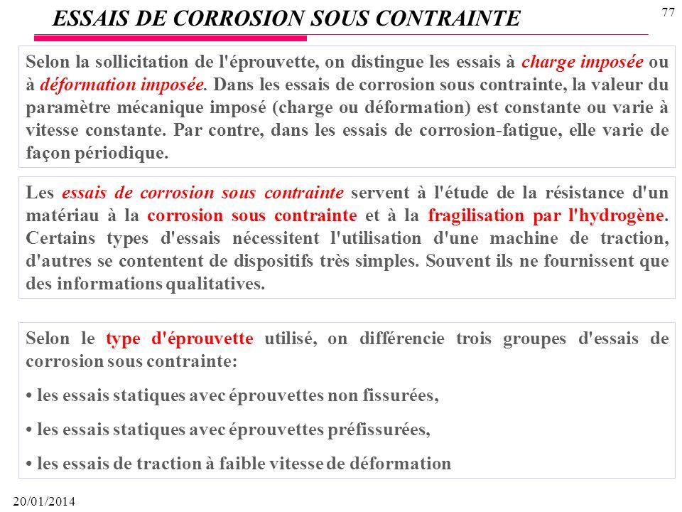 ESSAIS DE CORROSION SOUS CONTRAINTE