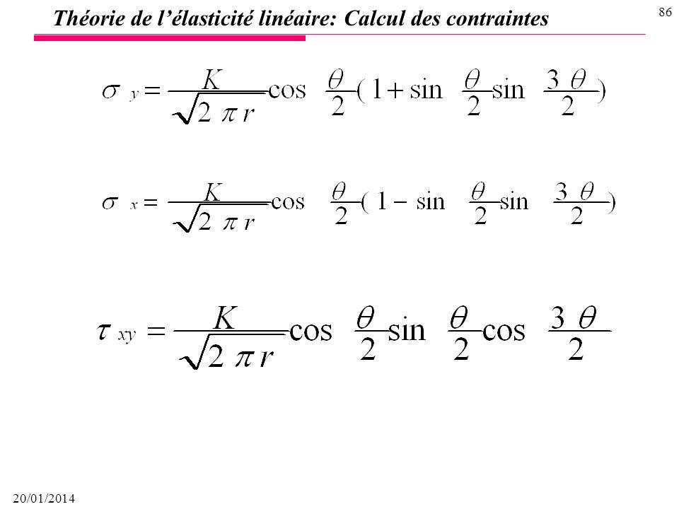 Théorie de l'élasticité linéaire: Calcul des contraintes