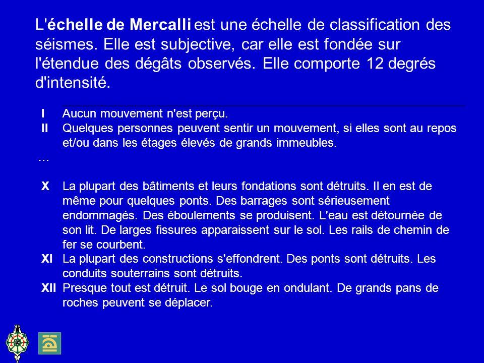 L échelle de Mercalli est une échelle de classification des séismes