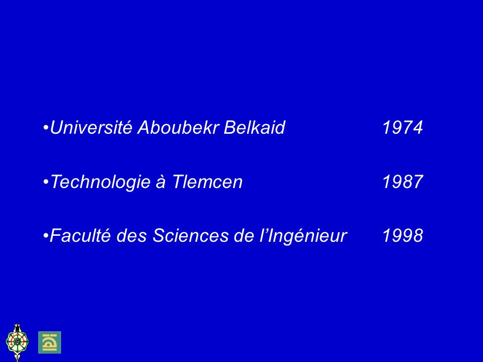 Université Aboubekr Belkaid 1974