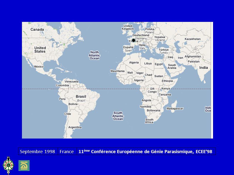 Septembre 1998 France 11ème Conférence Européenne de Génie Parasismique, ECEE'98