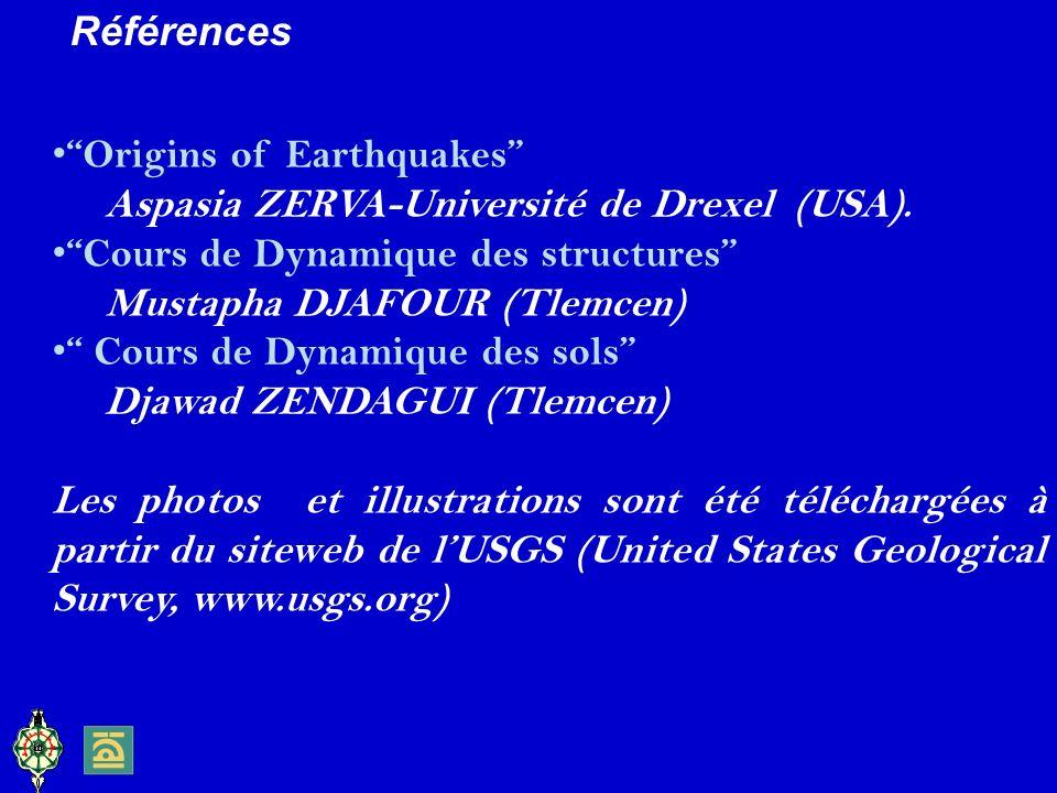 Références Origins of Earthquakes Aspasia ZERVA-Université de Drexel (USA). Cours de Dynamique des structures