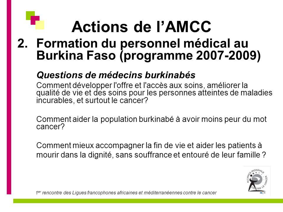 Actions de l'AMCCFormation du personnel médical au Burkina Faso (programme 2007-2009) Questions de médecins burkinabés.