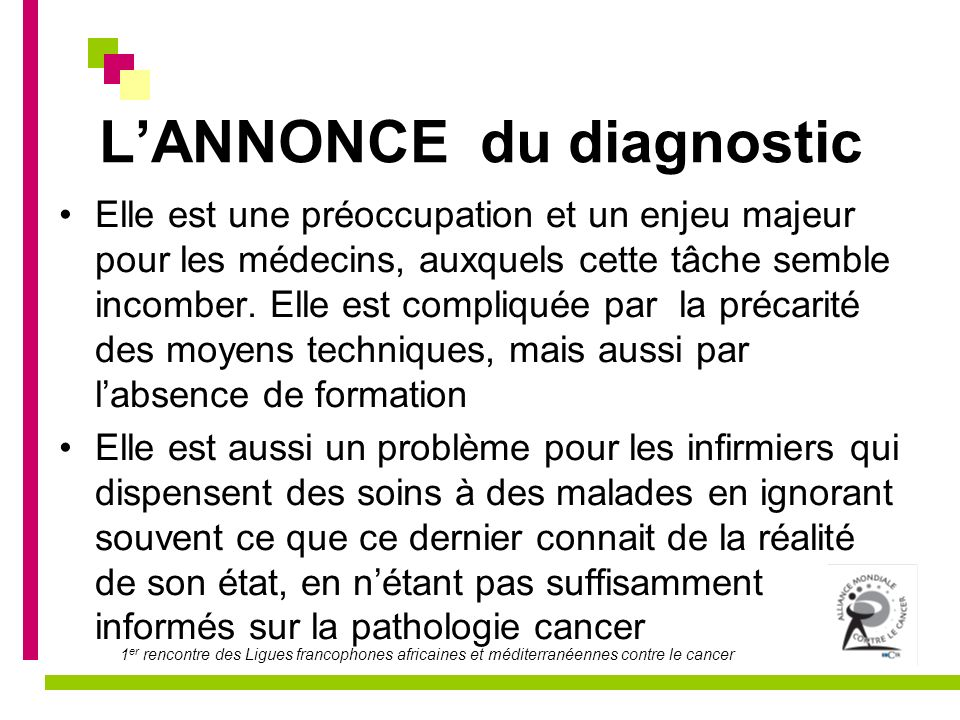 L'ANNONCE du diagnostic