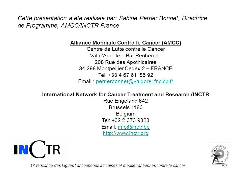 Cette présentation a été réalisée par: Sabine Perrier Bonnet, Directrice de Programme, AMCC/INCTR France