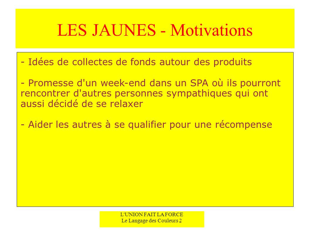 LES JAUNES - Motivations