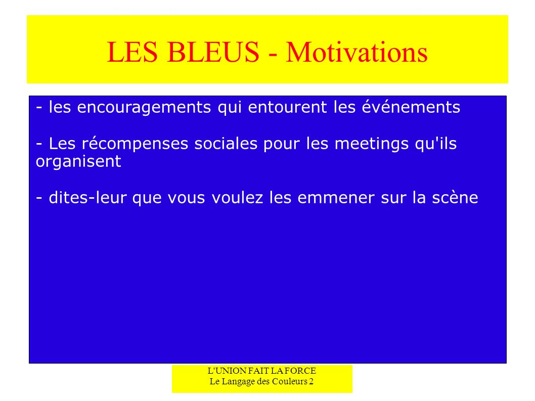 LES BLEUS - Motivations