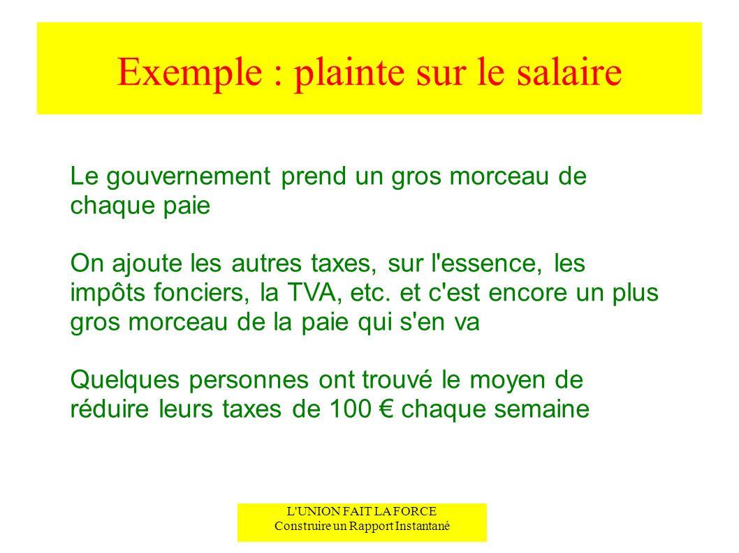 Exemple : plainte sur le salaire