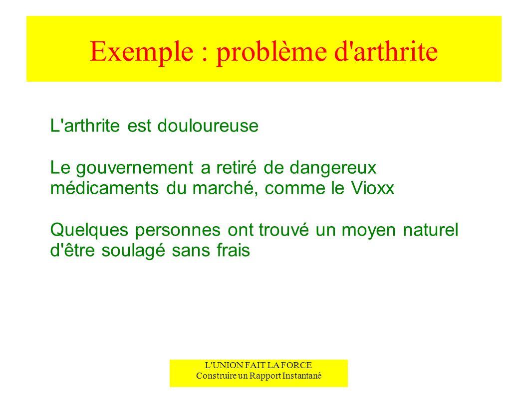 Exemple : problème d arthrite